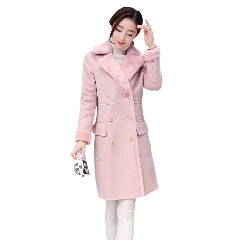 2017 Winter Jacket Women Pink Lambs Woolen Suede Jacket Thick Double Breasted Winter Coat Women Long Parkas Wool Overcoat C3597 qazxsw 2017 new winter cotton coat women long parkas thick velvet double breasted lamb winter jacket women suede jackets hb321
