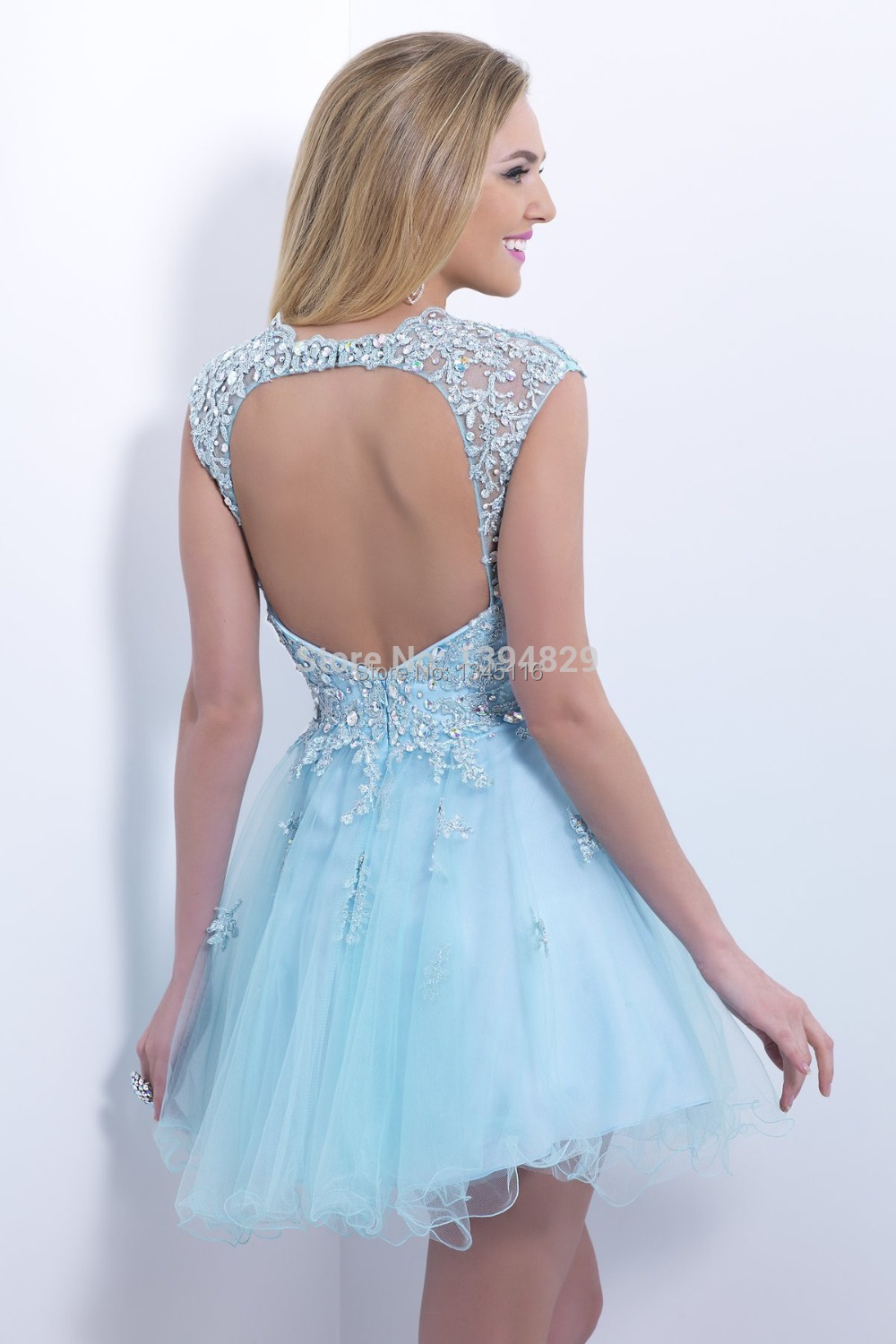 21998ad0d8 2016 Fashion Light Sky Blue Short Prom Dresses Beach Sheer Cap Sleeves  Backless Homecoming Party Gowns Vestidos De Noche Cortos-in Prom Dresses  from ...