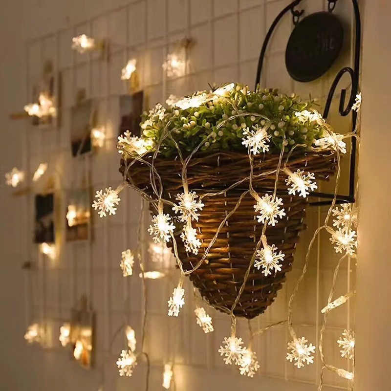 Xmas Lights Led Snowflake For Holiday Wedding 5m 10m Battery Plug String Garland