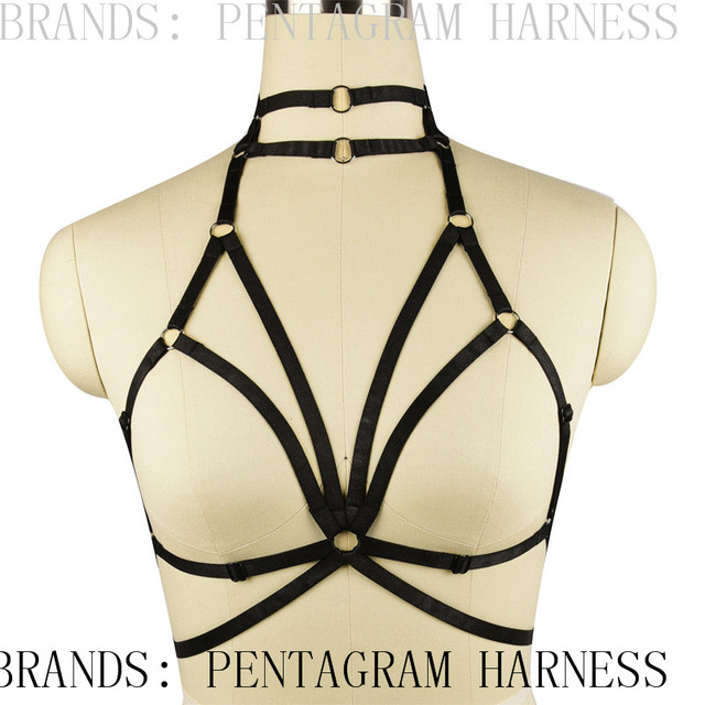 Womens Sexy Bondage Bra Cage Harness/ Goth Witchy Funny Exotic Lingerie Cage Bralette/ Bondage Crop Top/ Fetish Sexy Garter Belt