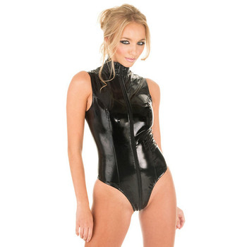Sexy latex pvc catsuit Women wetlook Gothic Faux Leather Lingerie Bodysuit hot erotic Costumes open crotch fetish Teddy Clubwear