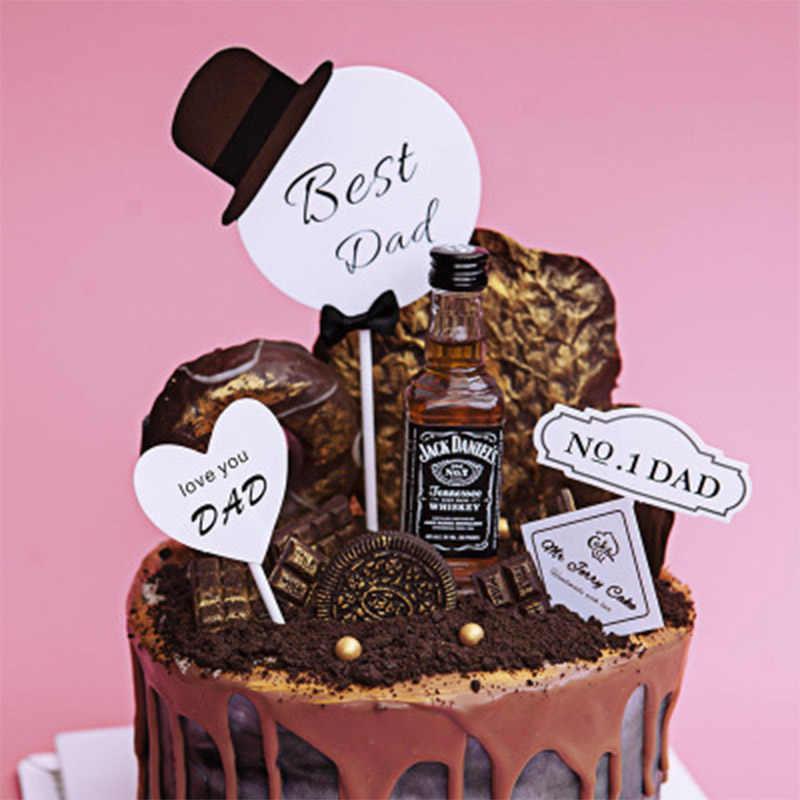 4 Piezas Feliz Cumpleaños Pastel Topper Barba Lazo Sombrero