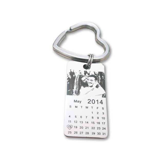 1 pc personalized photo calendar keychain love date gift stainless steel souvenir   keychain Tag 20mm X 40mm 3