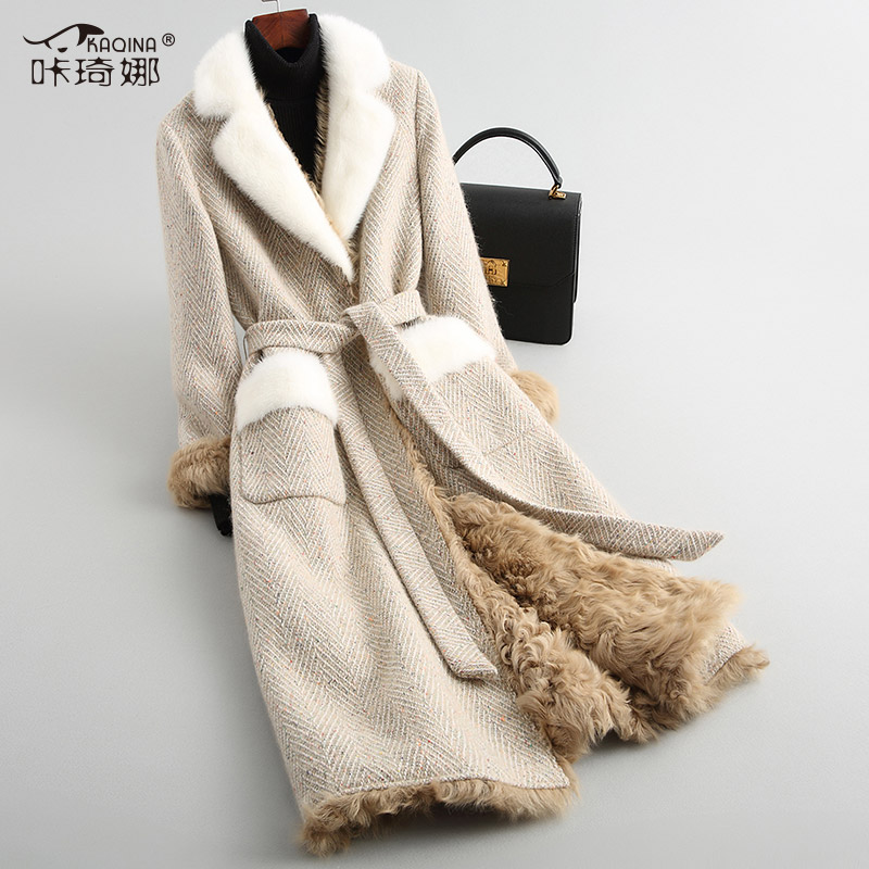 Пальто с натуральным мехом, зимняя куртка для женщин, подкладка из натурального меха ягненка, теплое твидовое пальто для женщин, воротник из...