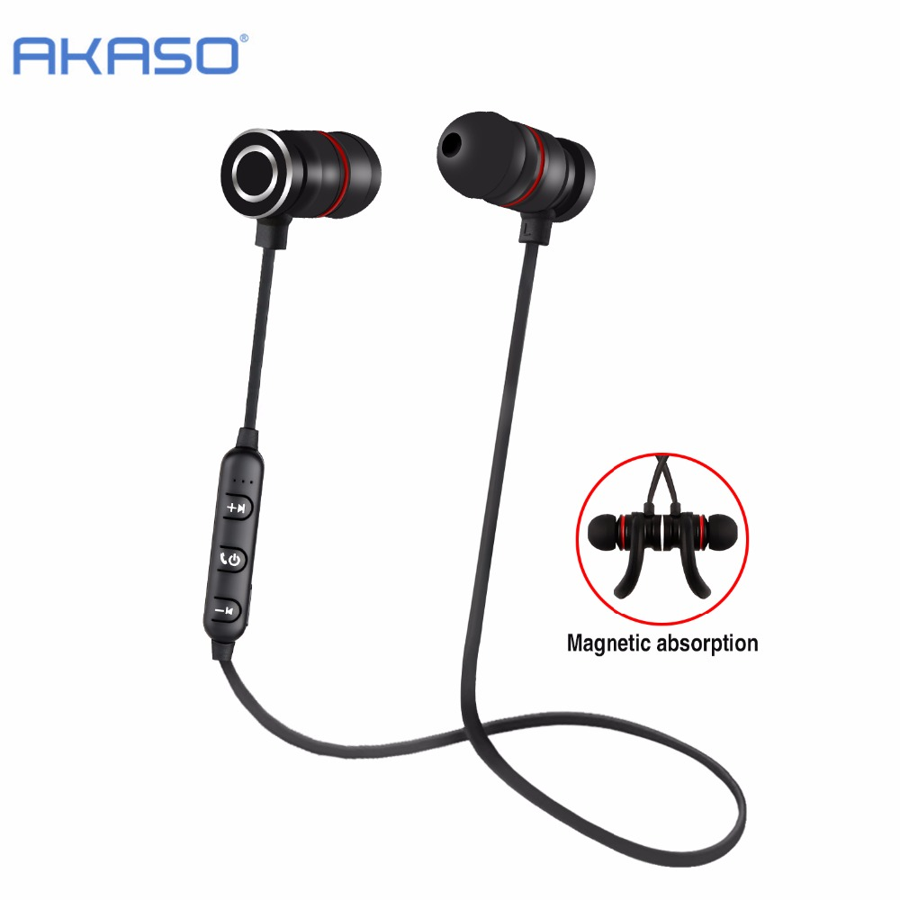 AKASO V4.2 Sport Wireless Bluetooth Headphone Earphone Headset With Microph adsorbable magnet Non-slip For Outdoor Ear Phone bluetooth earphone headphone for iphone samsung xiaomi fone de ouvido qkz qg8 bluetooth headset sport wireless hifi music stereo