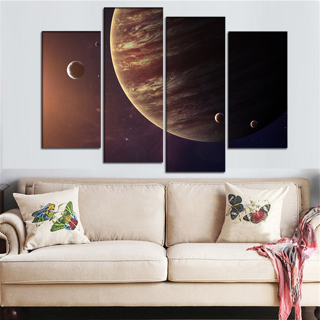 Large Canvas Wall Art Picture Jupiter Planet Pictures Outer E Poster Modern Home Decor