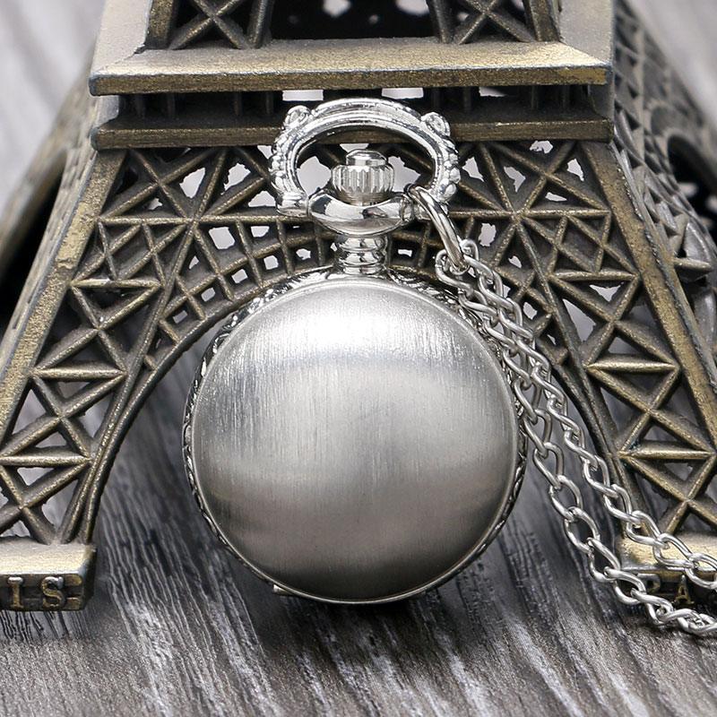 Cute Matte Silver Ball Design Quartz Fob Pocket Watch with Pendant Sweater Necklace Chain for Ladies Women Girls Best Gift