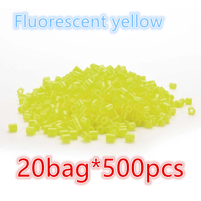 10000pcs Fluorescent yellow Hama/Perler Beads Toy Kids Fun Craft DIY Handmaking Fuse Bead Creative Intelligence Educational Toys