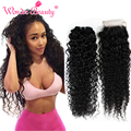 Malaysian Virgin Hair Bundles With Lace Closures 5pcs Kinky Curly Hair With Closure Human Hair Extentions Wonder Beauty Products