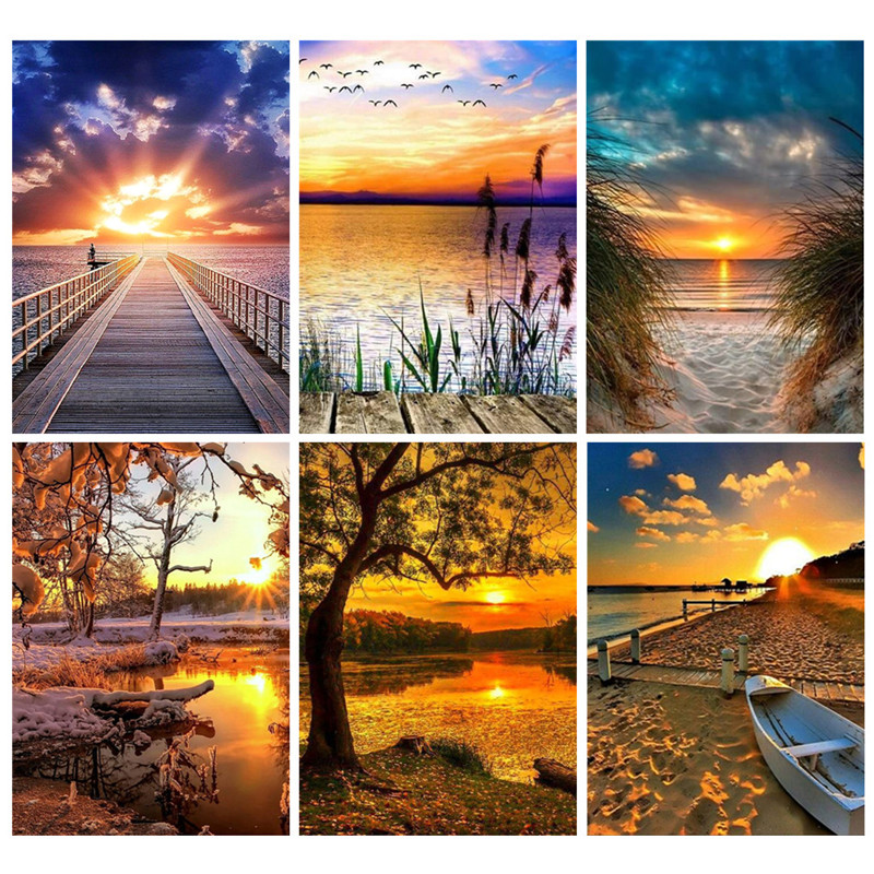 Painting Rhinestone-Decoration Diamond-Drill Sunset Cross-Stitch Inlay Lake Landscape