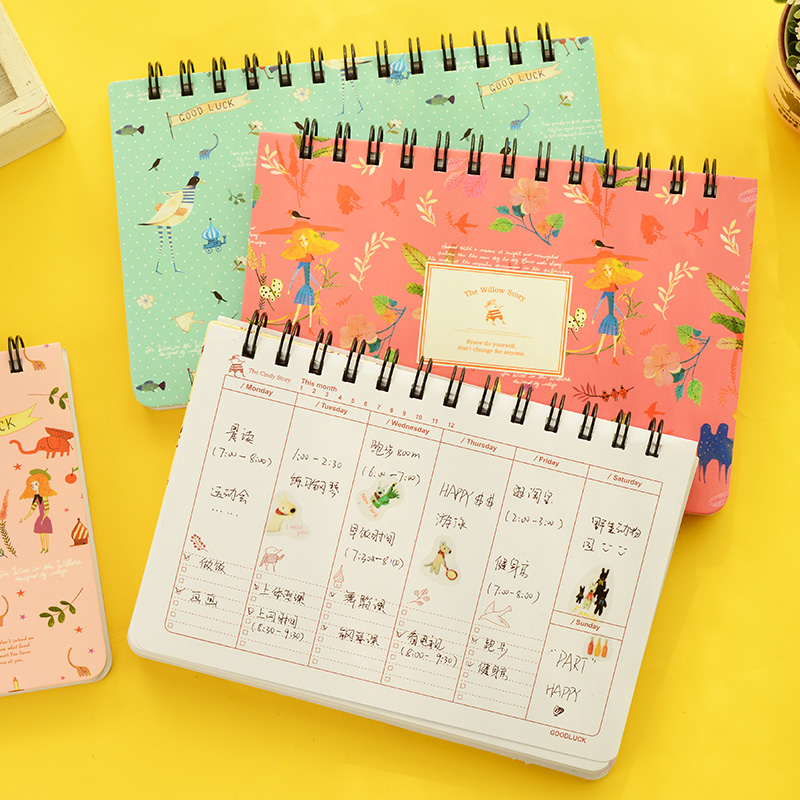 Blooming flower notebook Coil spiral planner Weekly agenda diary book stationery papelaria Material escolar Office supply 6858 retro color 365 days notebook gift diary note book agenda planner material escolar caderno office stationery supplies gt108