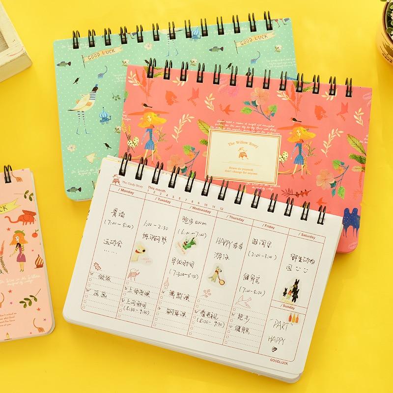 Blooming flower notebook Coil spiral planner Weekly agenda ds
