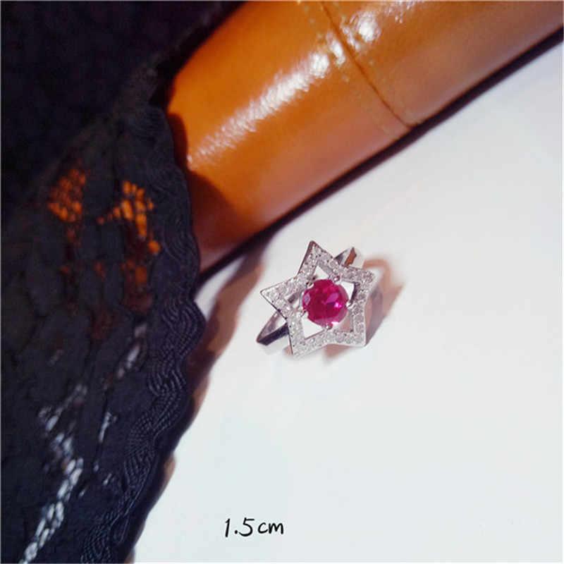 S925แหวนสำหรับผู้หญิงสเตอร์ลิง-s ilver-เครื่องประดับทับทิมวินเทจที่เรียบง่ายเครื่องประดับFineธรรมชาติอัญมณีแหวนปรับหรูหราสง่างามBague