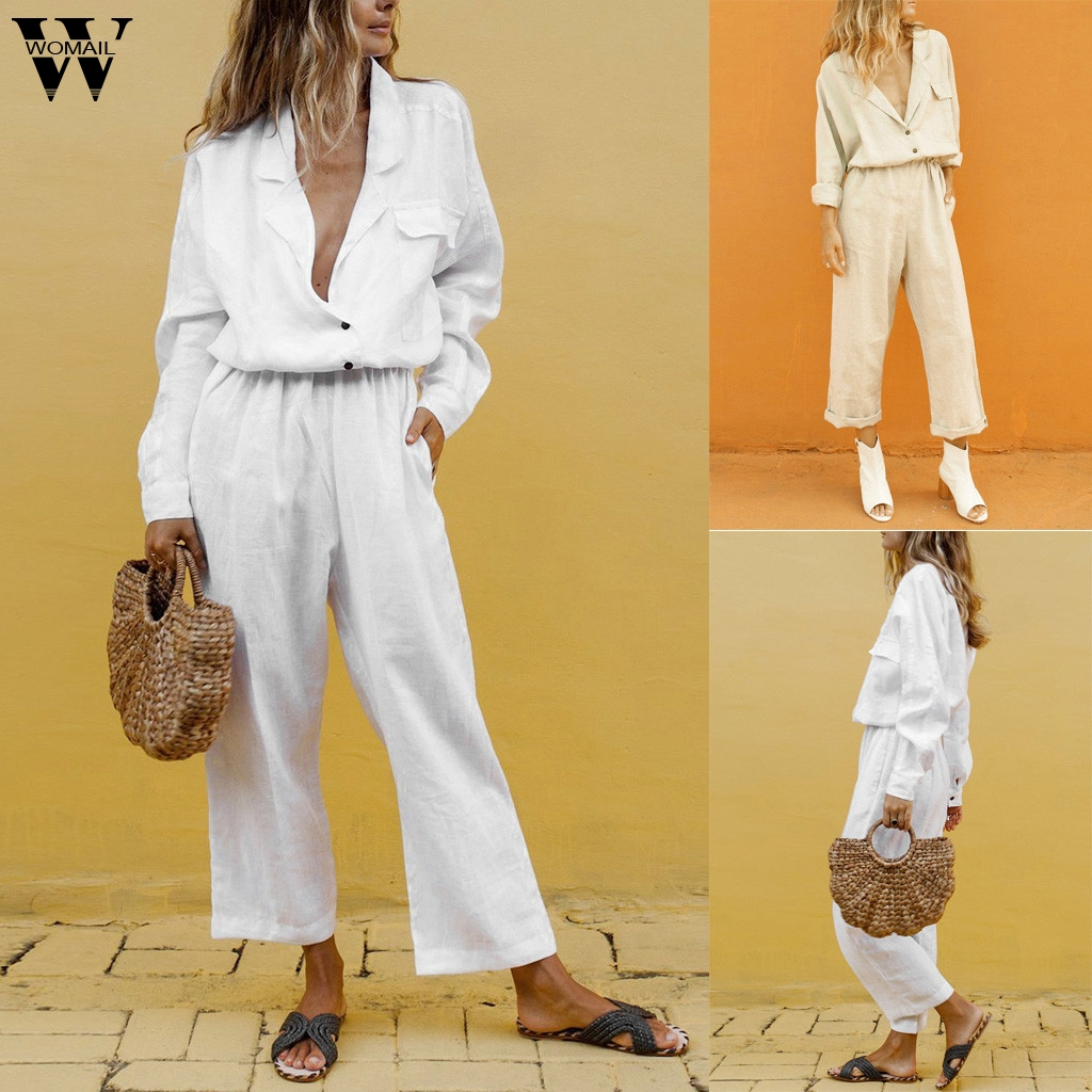 Womail Women Tracksuit Cotton Fashion Casual  2 Piece Set Button  Temperament Suit Pocket Long Suits Outfit 2019 J63