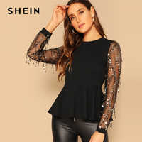 SHEIN Sequin Mesh Sleeve Peplum Ruffle Hem Top Long Sleeve Round Neck Womens Going Out Tops and Blouses 2018 Ladies Tops