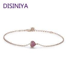 DISINIYA 925 Sterling Silver Rose Gold Romantic Heart Chain Link Bracelet Women Adjustable Lobster Clasp Bracelet Jewelry SCB050 недорго, оригинальная цена