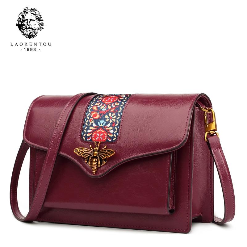 Laorentou Women Crossbody Bag Female Fashion Shoulder Bag Exclusive Split Leather Flap Bag for Women Messenger
