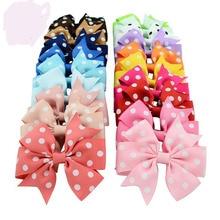 MengNa 20 Color 3.2inch Dot Polka Ribbon Hairbows,hair Ribbon bows With Clips Girls' Hair Accessories,100cs/lot