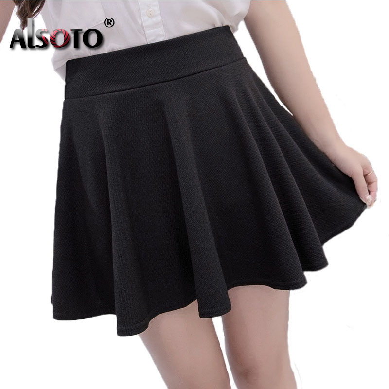 ALSOTO Summer and winter Skirt for Women Fashion Skirts Womens High Waist Sexy mini faldas jupe Black and Red Saia pleated skirt