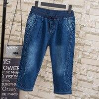 Summer Jeans Women Casual Denim Cropped Trousers Capris Pants Womens Ladies Solid Pants Casual Harem Pants Female Plus Size