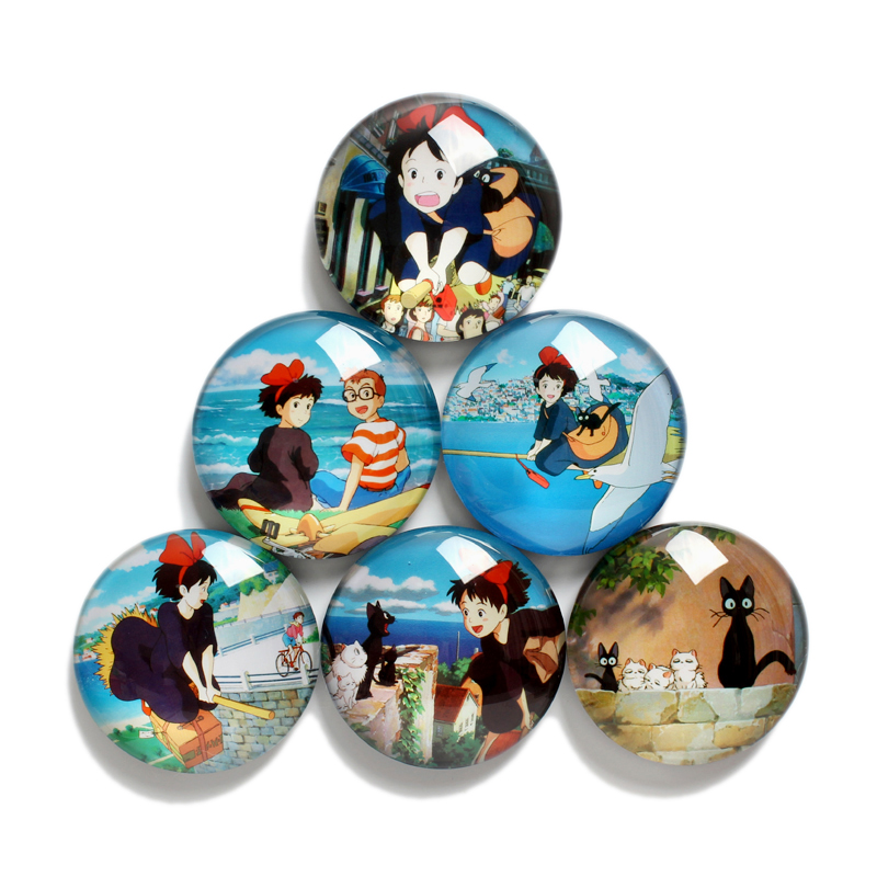 A Set Of 6 Kiki's Delivery Service Anime Figure Glass Fridge Magnets Classic Cartoon Toys Home Decorations Children Toys