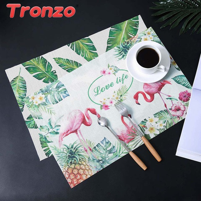 Tronzo Flamingo Pvc Table Pad Decoration Party 45x30cm Leaves Flower Pads For Dining