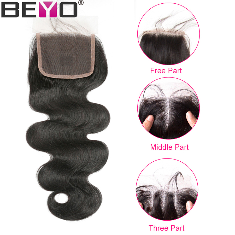 Beyo Malaysian Body Wave Lace Closure With Baby Hair Human Hair Closure 4x4 Free Middle Three