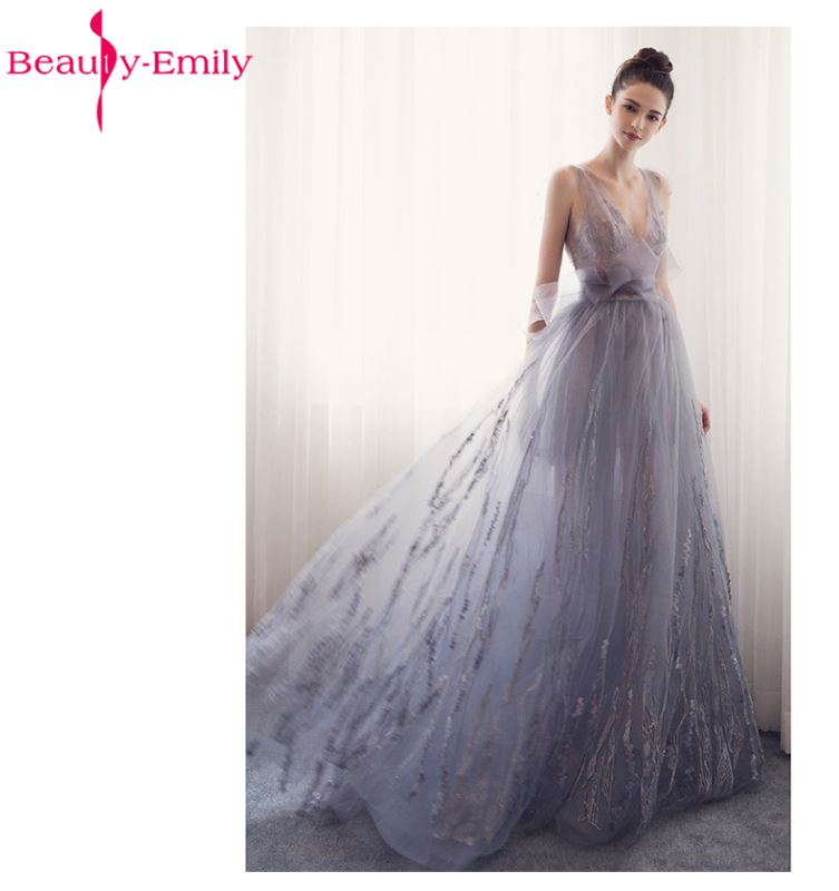 Beauty Emily Long Evening Dresses V-Neck A-line Sleeveless Backless Bride Dresses Formal Occasion Party Prom Dresses