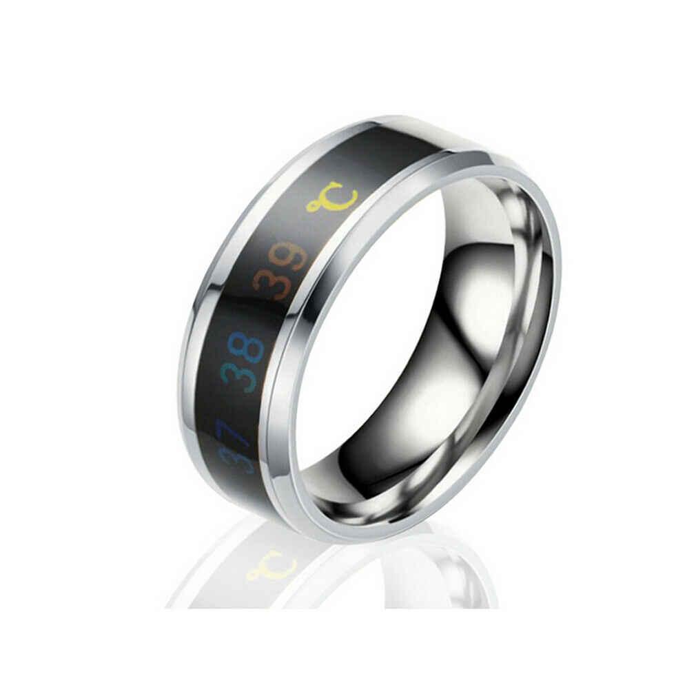 Moda nova temperatura inteligente par anel de exibição de temperatura de humor anel criativo preto azul ouro prata amarelo