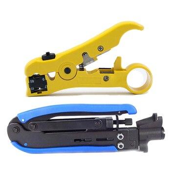 2x RG6 RG59 RG11 Coaxial Cable Coaxial corrugadora Stripper compresión herramienta Mano azul amarillo