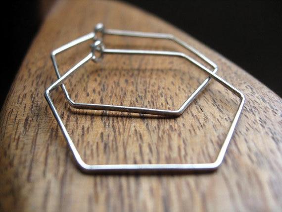 Pinjeas hexagon hoops ohrringe handmade sterling silber/rose gold ...