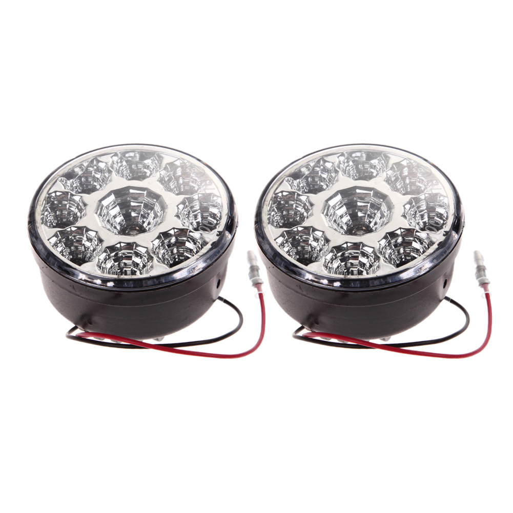 2Pcs 12-24V 9 LED Car Daytime Running Light Automobiles Fog Light Head Lamp Super Bright 9W Round Auto Light-emitting Diode DRL 2pcs super bright white 9 led head front round fog light for all car drl off road lamp daytime running lights parking lamp