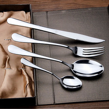 50sets 4Pcs/Set Exquisite Silver Cutlery Set Stainless Steel Flatware Set Knife Fork Spoon Mirror Polishing Tableware ZA1353