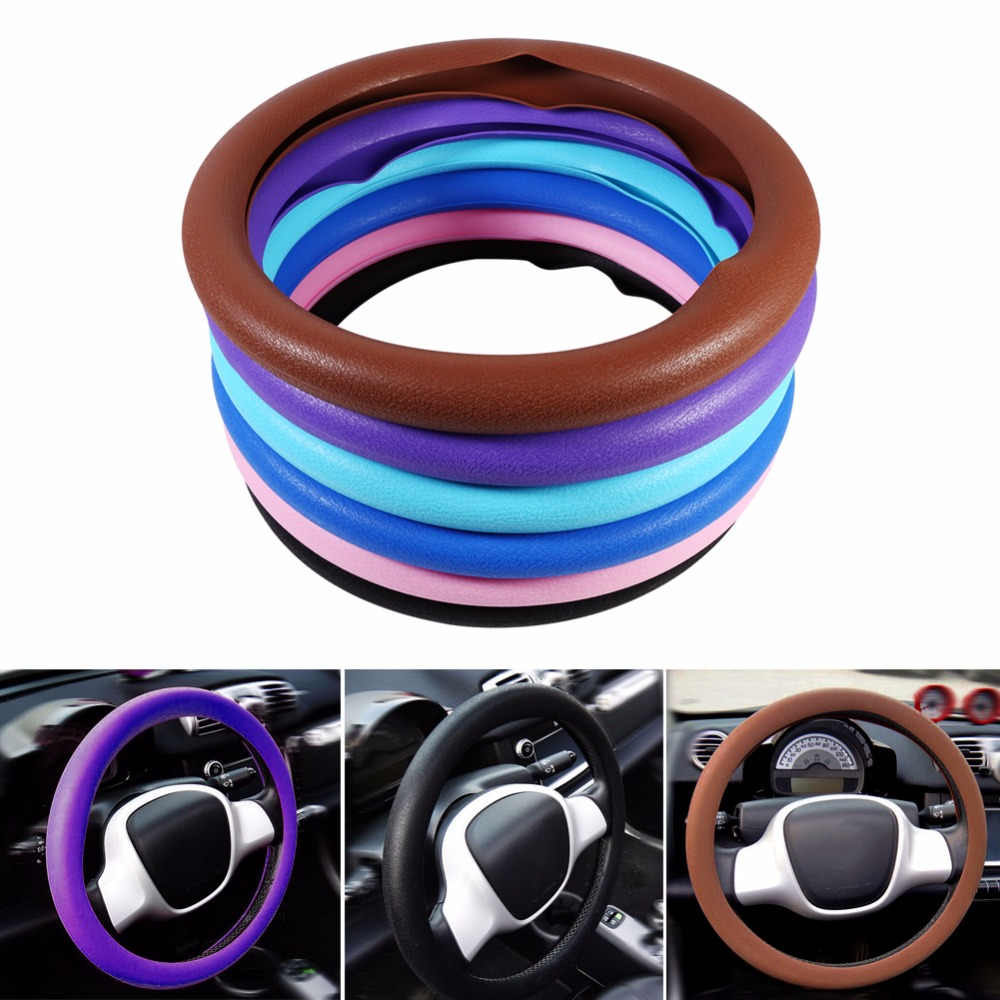 Car-Styling Universal Car Auto Steering Wheel Cover Skidproof Soft Silicone Car Steering Wheel Cover Shell Cover Colorful