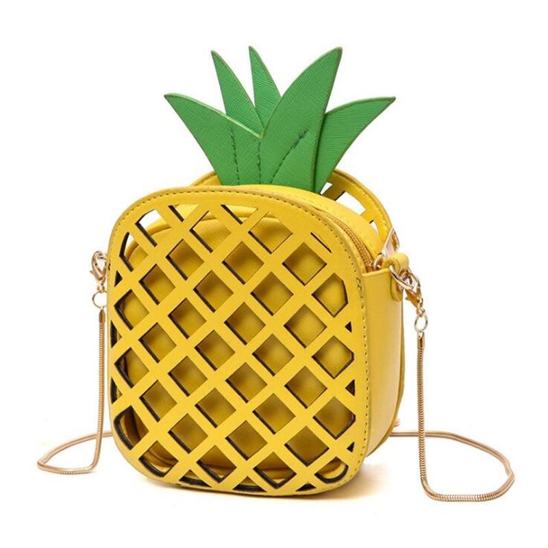 2017 NEW female brand interesting design women fruit bags cute pineapple chain s