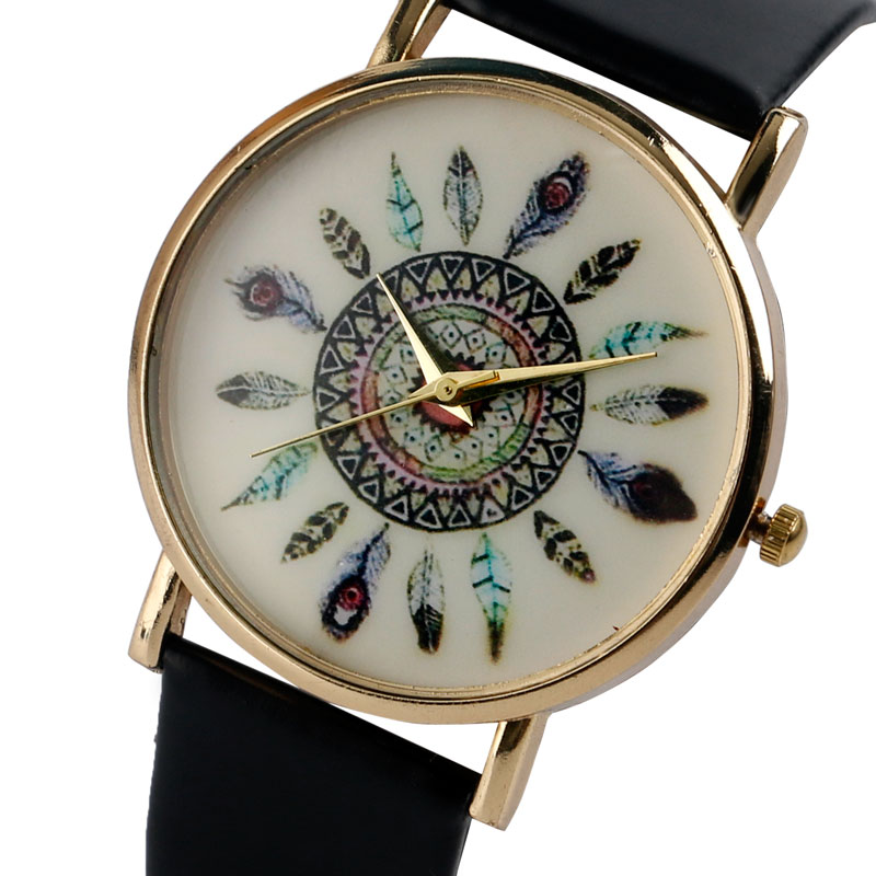 Fashion Wrist Watches Leather Strap New Arrival Watch Bohemian Elegant Colorful Feathers Dial Student Clock For Women Girl Gifts new cartoon children watch girl watches fashion boy kids student cute leather sports analog wrist watches relojes k519