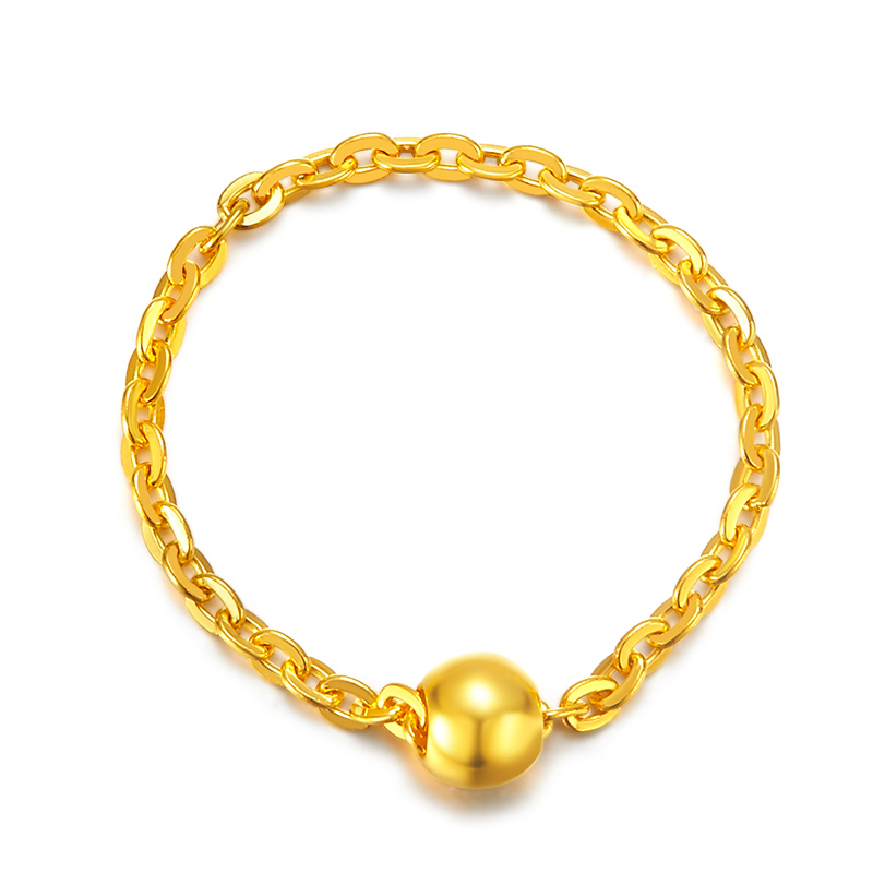 Pure 24K Yellow Gold Ring 999 Gold Women Beads O Link Ring new arrival au750 rose gold ring women o link chain ring