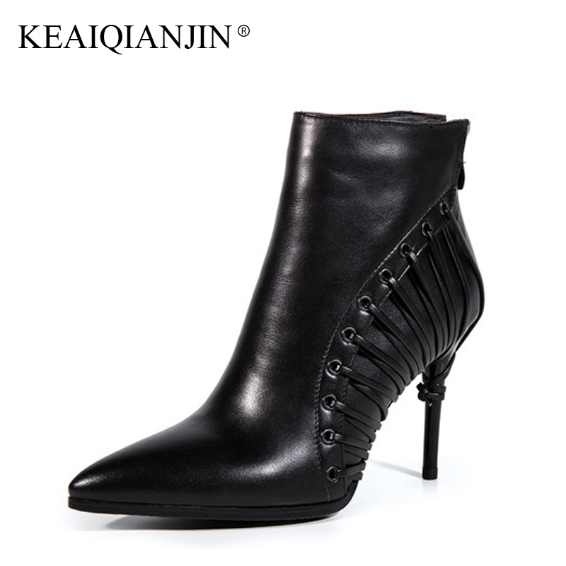 KEAIQIANJIN Woman Pointed Toe Boots Black Beige Plus Size 33 - 43 High Heel Boots Autumn Winter Genuine Leather Ankle Boots 2017 cocoafoal woman genuine leather ankle boots autumn winter 9 cm high heel shoes black apricot fashion sexy pointed toe boots 2018