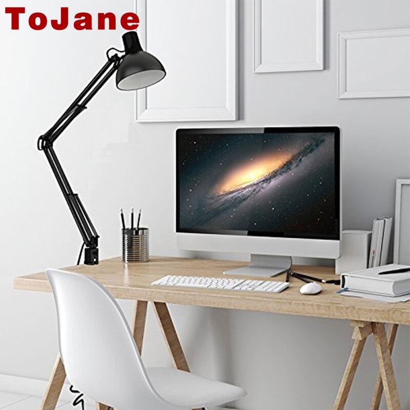 ToJane TG600 Long Swing Arm Desk Lamp Architect Clip on Lamp Office Home Desk Lamp Led Flexible Lamp Black LED Reading Light