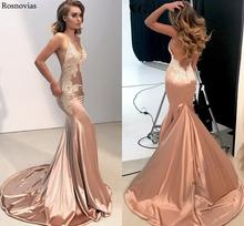 цена Sexy Mermaid Evening Dresses Long Spaghetti Strap V Neck Backless Appliques Beaded Formal Party Prom Gowns Robe De Soirée Custom
