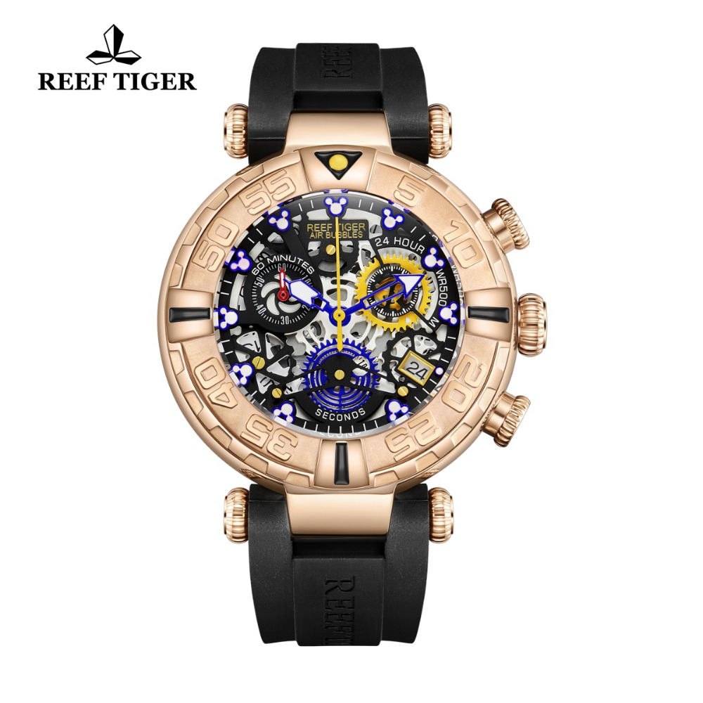 Reef Tiger/RT 2019 Luxury Brand Fashion Creative Watches Men Skeleton Watches Rubber Strap Rose Gold Sport Watch RGA3059-S