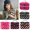Portable Women Dot Large 2 Layers Make-up Cosmetic Set Beauty Case Toiletry Bag 7 color