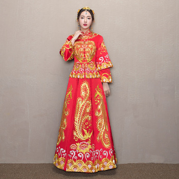 Embroidery Dragon wedding dress chinese style costume Phoenix cheongsam evening dress show clothing slim Style for the Wedding