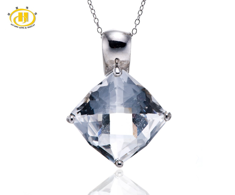 Hutang Stone Jewelry Natural White Topaz Gemstone Solid 925 Sterling Silver Pendant Necklace 18 Fine Fashion