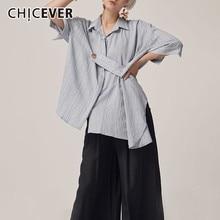 ボタンルーズロングトップ衣類 CHICEVER 2019 夏カジュアルストライプの女性のブラウスラペル半袖
