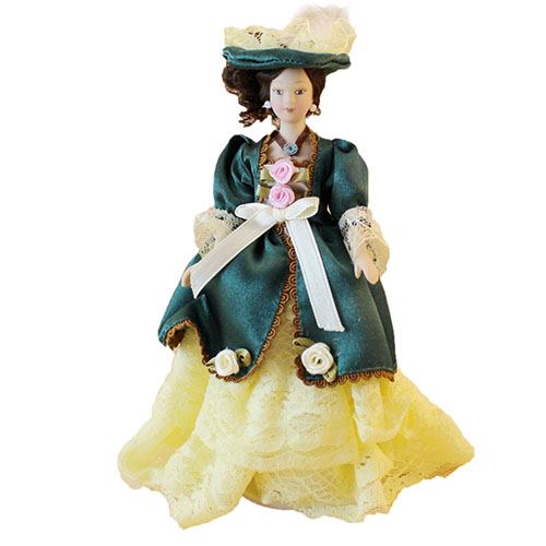 Dollhouse Miniature Ceramics Dolls in Green Dress & Hat