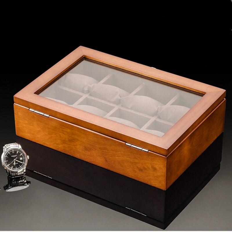 8 Slots Holz Uhrenbox New Coffee Herren Mechanische Uhr - Uhrenzubehör - Foto 3