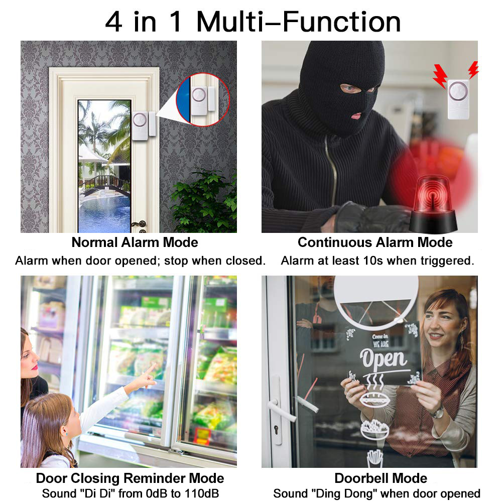 Image 5 - Wireless Door Magnetic Sensor Alarm Door and Window Open Close Reminder Alarm Kit for Supermarket Convenience Store Refrigerator-in Sensor & Detector from Security & Protection