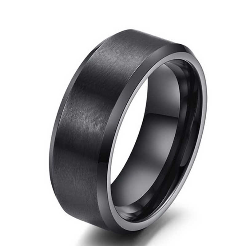2018 New Big Punk Rings Men Three Colors 8mm Width Stainless Steel Round Vintage Statement Rings Jewelry