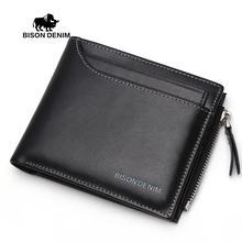 BISON DENIM 2016 Multifunktions-männer Brieftaschen Aus Echtem Leder Brieftasche Kartenhalter Geldbörse Taschen Reißverschluss Brieftaschen